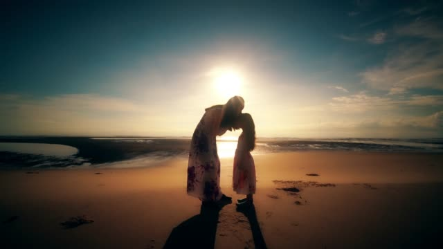 sister in the embrace on the beach at sunset - silhouette people back lit stock videos & royalty-free footage