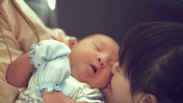 sister kissing her newborn baby - brother stock videos & royalty-free footage