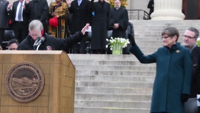 sister theresa bangert delivers the innvocation at the inauguration of laura kelly as the 48th governor of kansas - governor stock videos & royalty-free footage