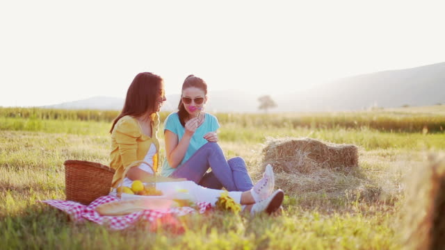 sisters enjoy beautiful day - picnic stock videos & royalty-free footage