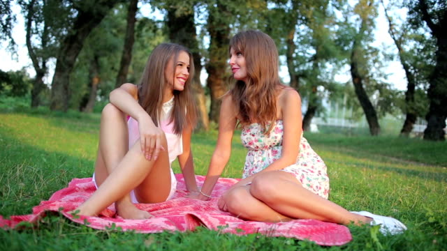 sisters enjoy beautiful day - dimple stock videos and b-roll footage
