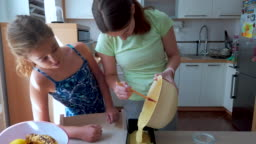 Sisters Making Banana Bread In Kitchen