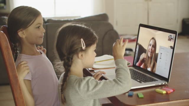sisters remote learning at home - teacher stock videos & royalty-free footage