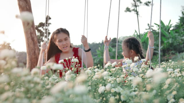 slo mo sisters sibling playing swing in flower field - altalena video stock e b–roll