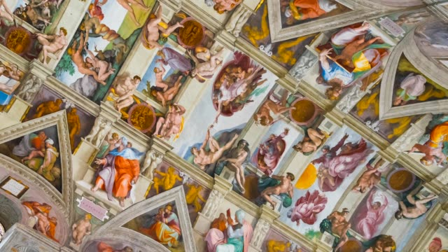 sistine chapel in vatican museums - cristianesimo video stock e b–roll