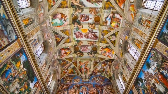 sistine chapel in vatican museums - italian culture stock-videos und b-roll-filmmaterial