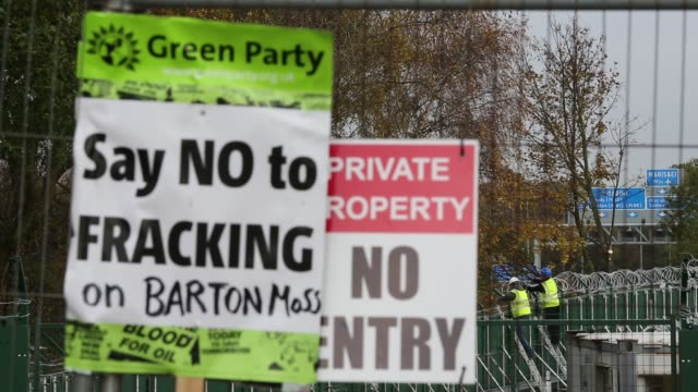 a site on chat moss in manchester that has been given planning permission for fracking and coal bed methane mining manchester uk with workers... - headwear stock videos & royalty-free footage