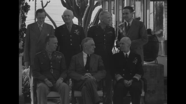 stockvideo's en b-roll-footage met sitting for photo opportunity from left to right general george marshall army chief of staff us president franklin roosevelt admiral ernest king... - generaal militaire rang