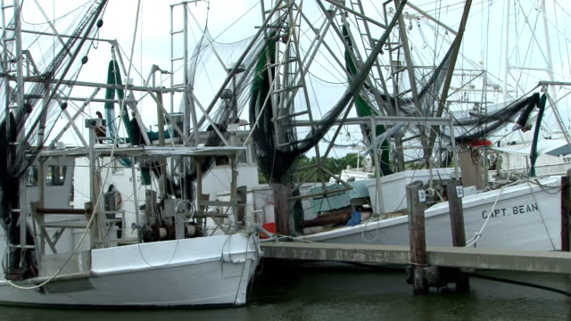 Sitting on their shrimp boat by the side of the road fishermen worry for the future Fisherman's Wife Frets About Industry's Future on May 21 2010 in...