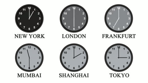 six clock faces with hands moving through 24 hours - minute hand stock videos & royalty-free footage