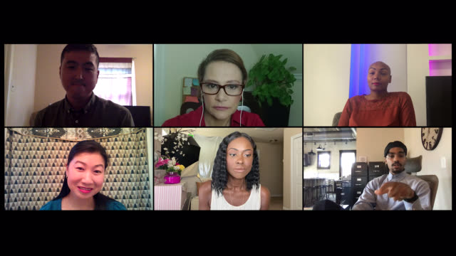 six coworkers participate in a video conference call at home (audio) - beautiful people stock videos & royalty-free footage