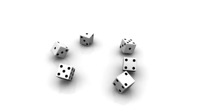 six dice thrown - cube stock videos & royalty-free footage