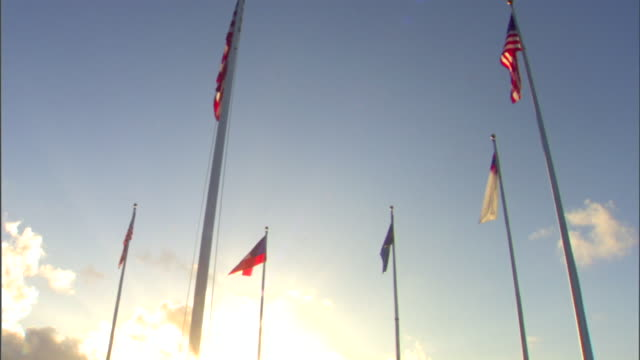 vidéos et rushes de six flags on poles 50 star us flag fg w/ historic timeline flags bg two united states flags two confederate flags separated by south carolina state... - armée des états confédérés