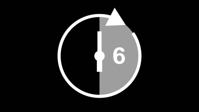 six hour, stopwatch animated icon clock with moving arrows simple animation. time counter symbol stock video - matte icon stock videos & royalty-free footage