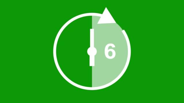 sechs stunden, stoppuhr animierte symbol uhr mit beweglichen pfeilen einfache animation. zeitzähler-symbol-stock-video - number 6 stock-videos und b-roll-filmmaterial