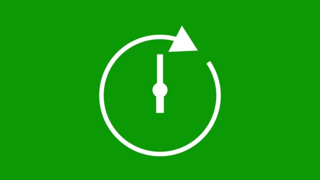 six hour, stopwatch animated icon clock with moving arrows simple animation. time counter symbol. green screen - green colour stock videos & royalty-free footage