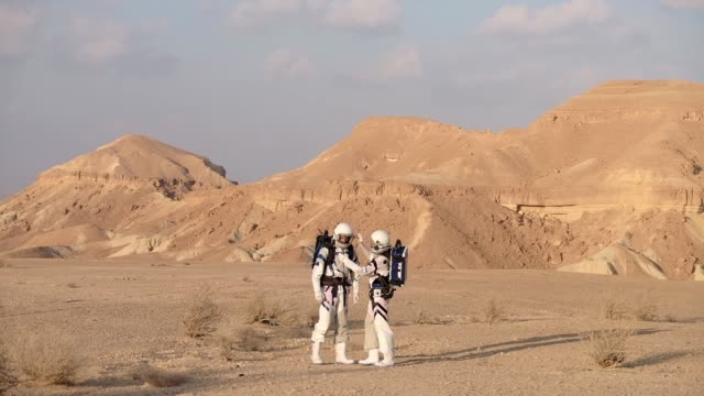 six israeli analog astronauts start their mission on the dmars which is a unique israeli initiative for planetary research habitat built in an... - astronaut stock videos & royalty-free footage