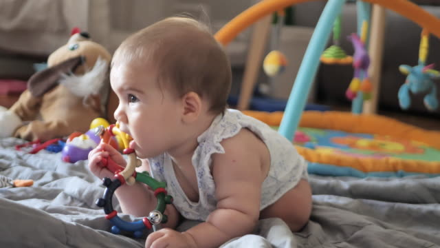 six month old playful baby girl - only baby girls stock videos & royalty-free footage