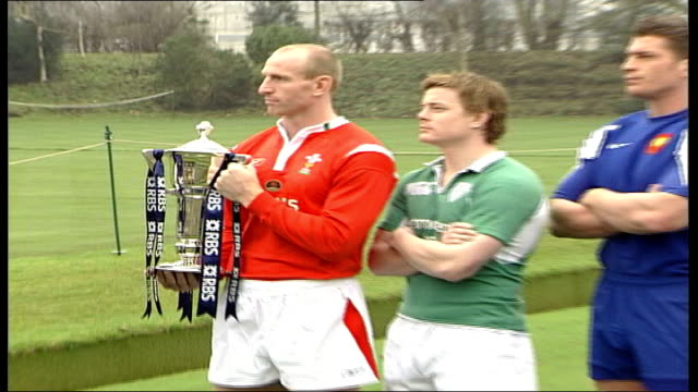 six nation tournament launch england ext gareth thomas stands holding six nations trophy at photocall with the captains of the remaining five 'six... - gareth thomas rugby player stock videos & royalty-free footage