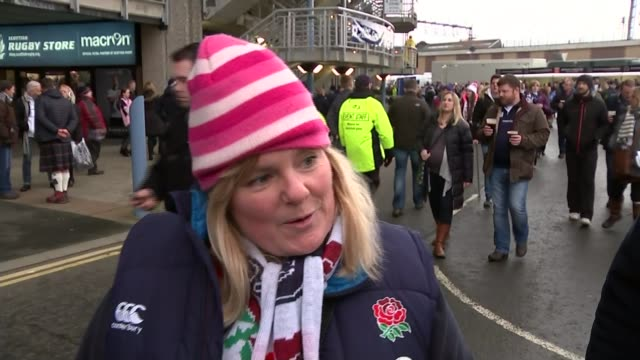 six nations 2016 matches vox pops [scotland and england fans] variou shots fans along with drinks fans waving to camera supporters along towards... - itv weekend evening news点の映像素材/bロール