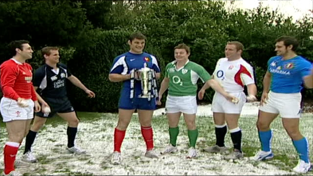 six nations championship capatains' photocall england ext / snow six nations rugby captains gareth thomas brian o'driscoll fabien pelous martin corry... - gareth thomas rugby player stock videos & royalty-free footage