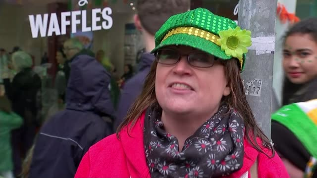 six nations championship preview of final round matches republic of ireland dublin ext various of marching band and floats in st patrick's day parade... - st patrick's day stock videos & royalty-free footage