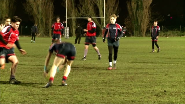 six nations rugby tournament: new trophy unveiled; england: staines: ext staines rugby football club youth players training on field bob lawless... - youth club stock videos & royalty-free footage