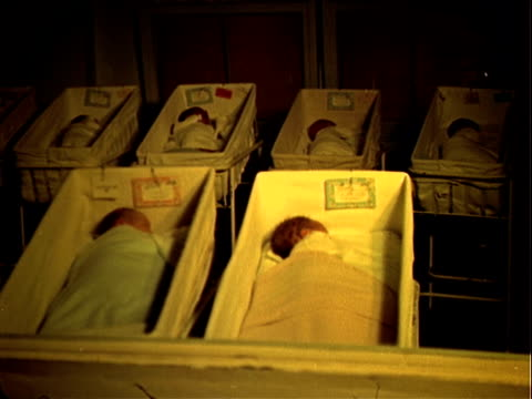 stockvideo's en b-roll-footage met six newborn babies in cribs in nursery maternity ward babies in nursery maternity ward on january 01 1953 in los angeles california - ziekenzaal