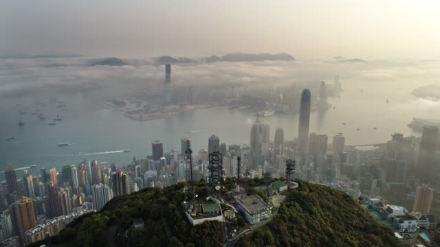six short clips of hong kong from air - central district hong kong stock videos & royalty-free footage