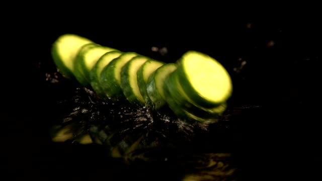Six videos of falling cucumber in real slow motion