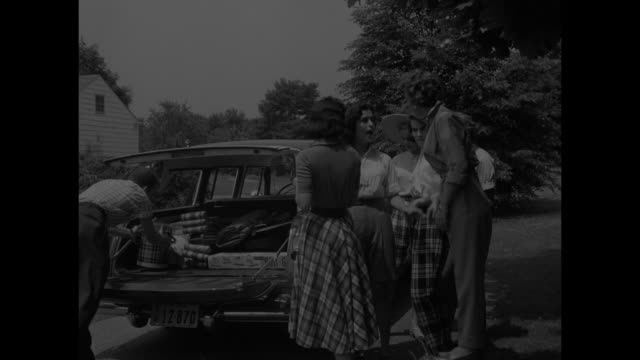 six women and cook at barbecues / 3 women on lawn meet arriving car with 3 women and 1 man / people unload car and play croquet / herringbone shorts,... - roast turkey stock videos & royalty-free footage