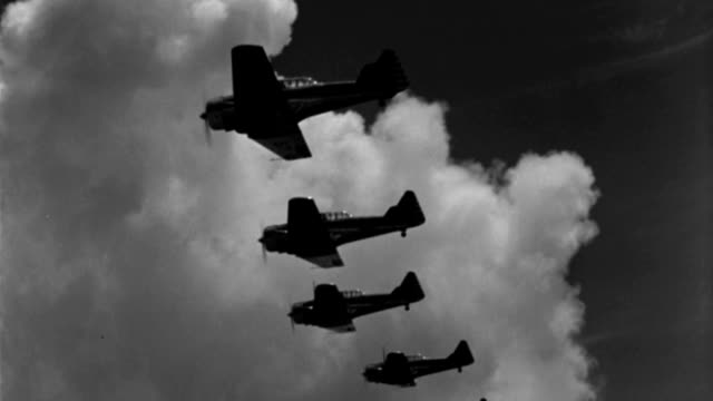 six wwii advanced trainer aircraft fly in echelon formation. - military training stock videos & royalty-free footage