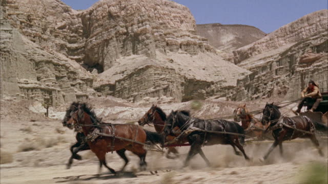 ms six-horse stagecoach moving along western trail - cactus drawing stock videos & royalty-free footage