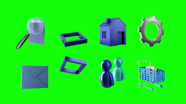 sixteen 3d animated icons - variation icon stock videos & royalty-free footage