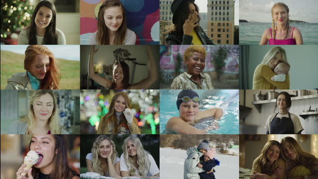 sixteen panel collage of portraits of diverse confident women / cedar hills, utah, united states - video collage video stock e b–roll