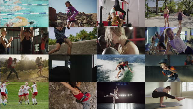 sixteen panels opening of people competing in sports and exercising / cedar hills, utah, united states - filmcollage stock-videos und b-roll-filmmaterial