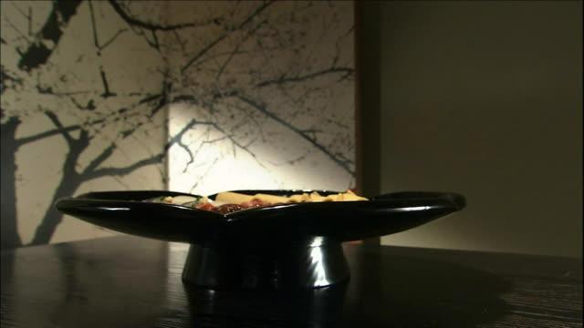 sixteen varieties of nigiri ovals lie on a platter. - nigiri stock videos and b-roll footage