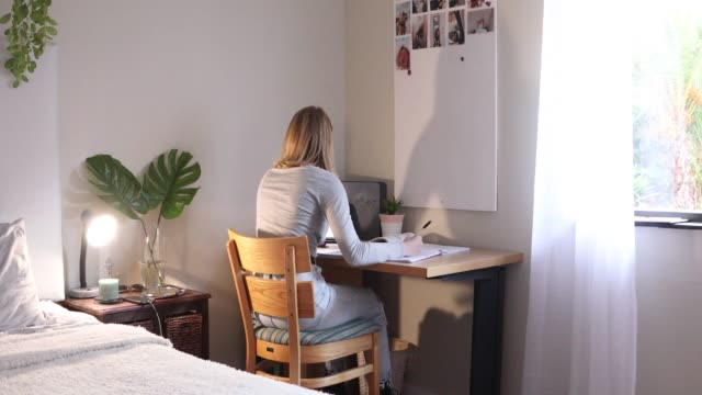 a sixteen-year-old girl doing school-work in her room at home. - postura video stock e b–roll