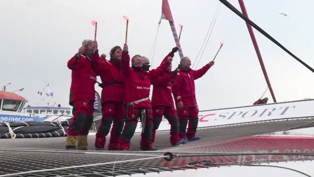 sixty year old frenchman francis joyon and his five man crew on thursday smashed the round the world sailing record becoming the first team to... - sailing team stock videos & royalty-free footage