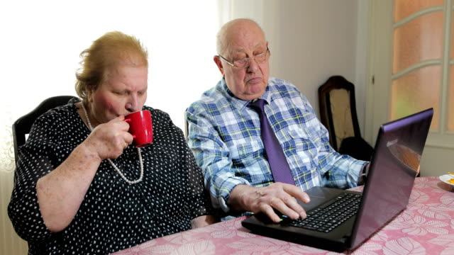 sixty years together.senior couple using laptop at home - silver surfer stock videos and b-roll footage