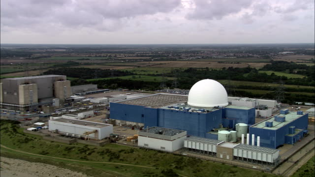 sizewell b nuclear power station  - aerial view - england, suffolk, suffolk coastal district, united kingdom - nuclear power station stock videos & royalty-free footage