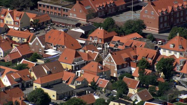 skagen town  - aerial view - north denmark,  frederikshavn kommune,  denmark - denmark stock videos & royalty-free footage