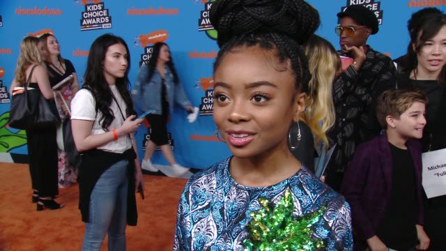 interview skai jackson on the excitement surrounding the kids' choice awards at the nickelodeon's 2018 kids' choice awards at the forum on march 24... - 31st annual nickelodeon kids' choice awards stock videos and b-roll footage