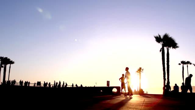 skateboard beach slow motion - venice beach stock videos and b-roll footage