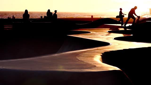skateboard sunset california - venice beach stock videos and b-roll footage