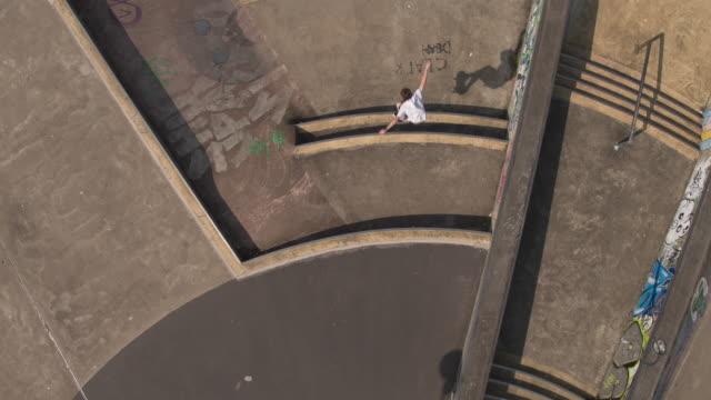 skateboarder fall at skatepark - staffordshire england stock videos & royalty-free footage
