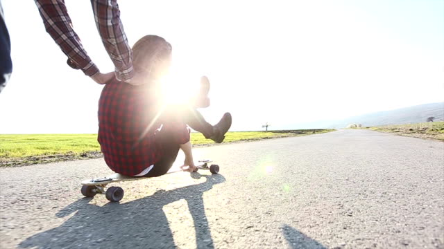 skateboarding friends having fun - adolescence stock videos and b-roll footage