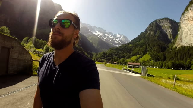 Skateboarding through an iconic Swiss valley