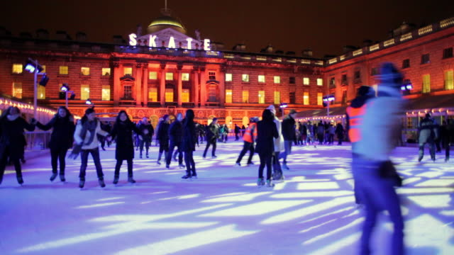 ws skaters at somerset house outdoor rink / london, london, united kingdom - ice skating stock videos & royalty-free footage