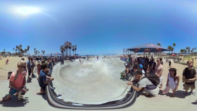 skaters enjoy venice beach's skatepark. - venice beach stock videos & royalty-free footage